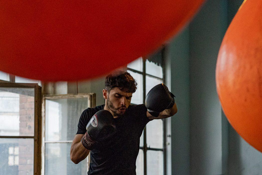 riverside boxing shadow boxing training man